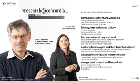 Screenshot of Reasearch at Concordia